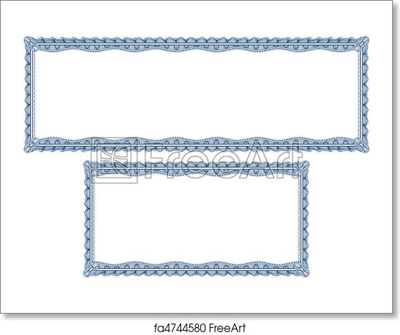free art print of blank guilloche borders for diploma or certificate