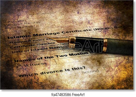 Free art print of Islamic marriage certificate grunge concept