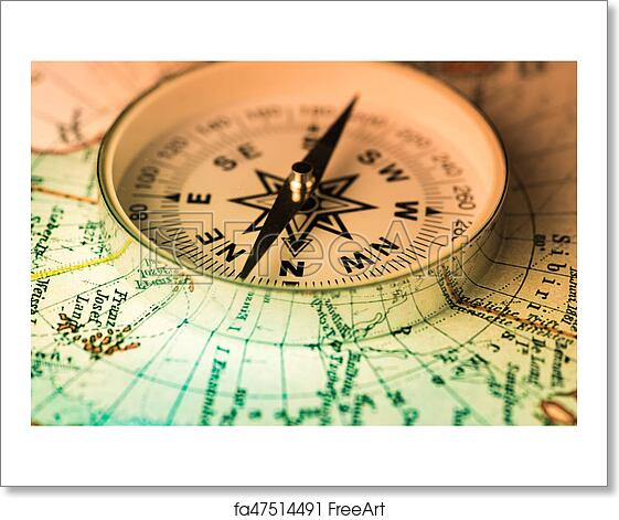 Free Art Print Of Compass On The World Map Compass Lies On An