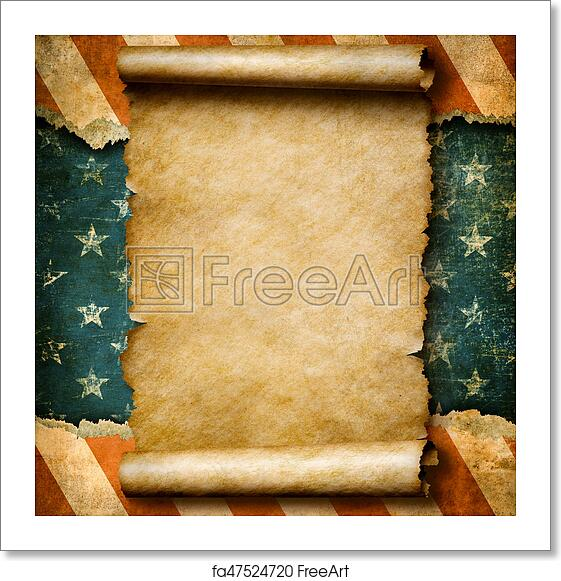 Free art print of Grunge blank paper scroll or parchment over USA flag  independence day template 3d illustration