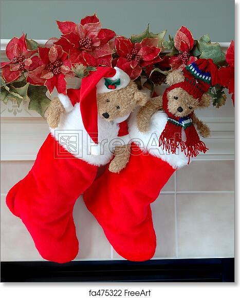 Bear Christmas Stocking.Free Art Print Of Christmas Stockings On The Mantle