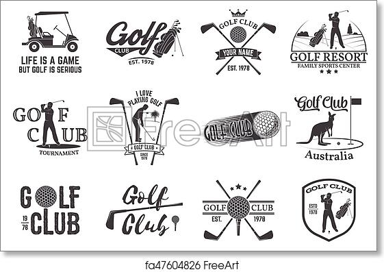 Free Art Print Of Set Of Golf Club Concept With Golfer Silhouette