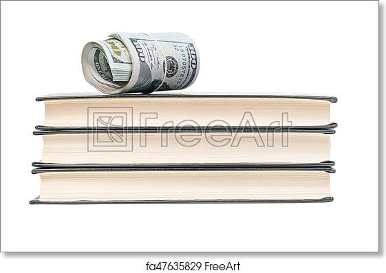 picture relating to Free Printable Money Bands called Cost-free artwork print of Revenue upon a pile of textbooks