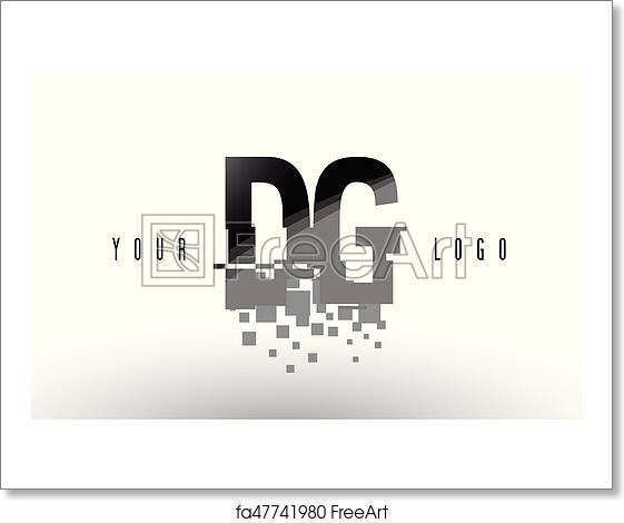 Free art print of DG D G Pixel Letter Logo with Digital Shattered Black  Squares