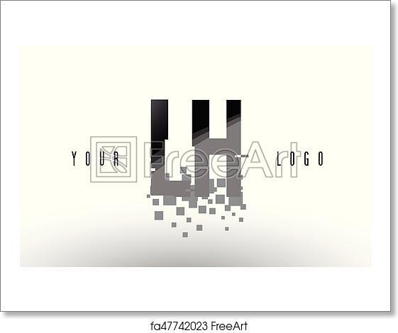Free art print of LH L H Pixel Letter Logo with Digital Shattered Black  Squares