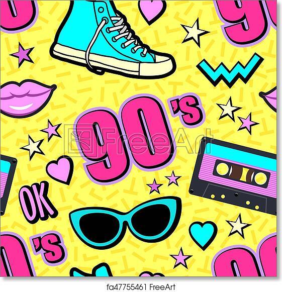 Free art print of Vector neon pop background 80s, 90s