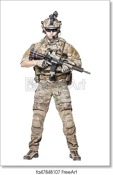 Free art print of US Army Ranger with weapon