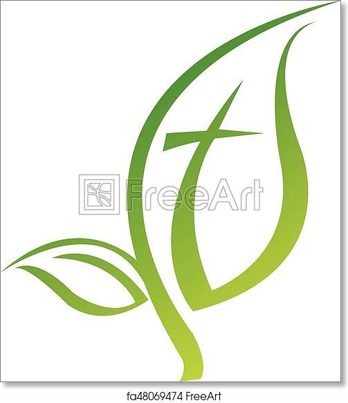 Free Art Print Of Leaf Logo Religious Cross Symbol Icon Vector
