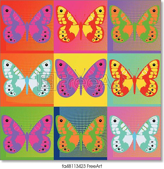 1ff1e5d42 Free art print of Pop art Andy Warhol background with butterflies. eps. Set  of colored butterflies Pop Art Andy Warhol | FreeArt | fa48113423