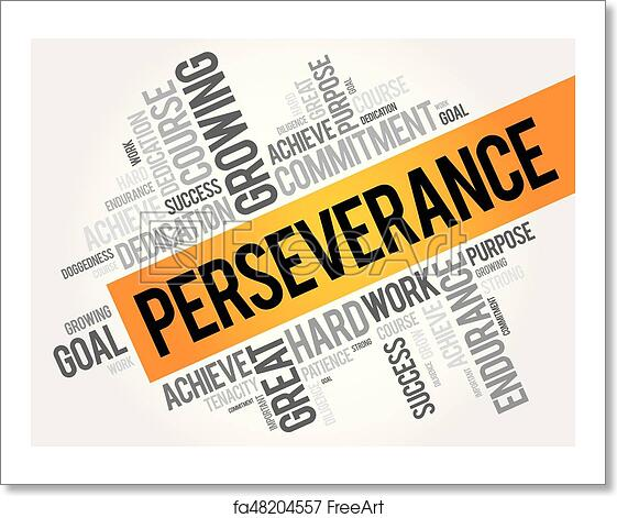 free art print of perseverance word cloud collage perseverance word