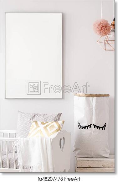 Free art print of Baby nursery white poster mockup