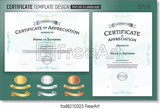 Free Art Print Of Set Of Certificate Of Appreciation Template With