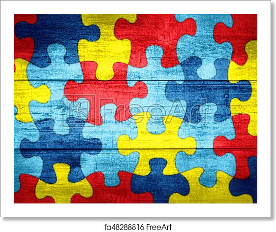 Autism Awareness Art Posters Framed Artwork: Free Art Print Of Puzzle Pieces In Autism Awareness Colors