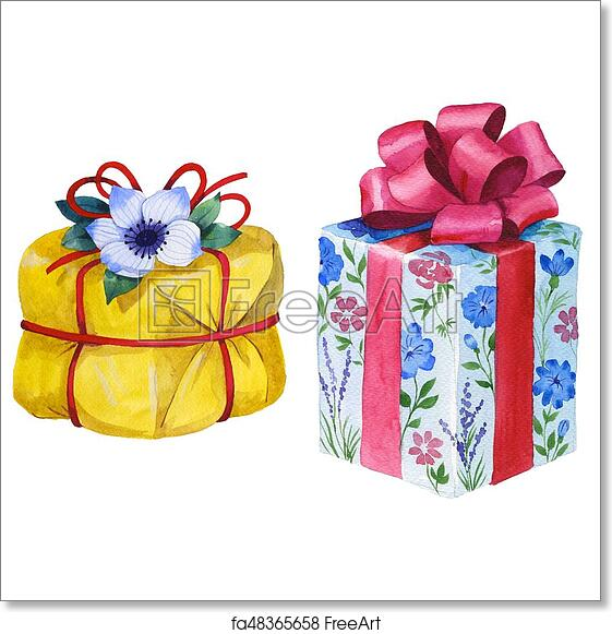 Free Art Print Of Watercolor Birthday Gift Box Illustration Wrapped Gift Boxes With A Ribbon