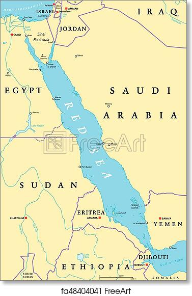 Political Map Of Jordan.Free Art Print Of Red Sea Region Political Map Red Sea Region