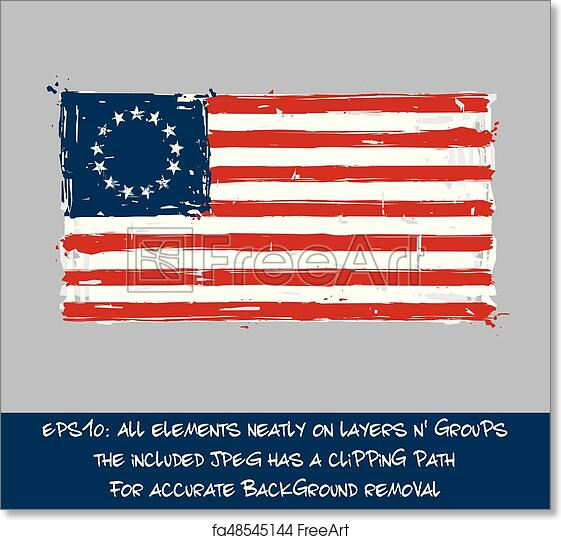 picture about Betsy Ross Printable Pictures titled Totally free artwork print of American Betsy Ross Flag Flat - Resourceful Brush Strokes and Splashes