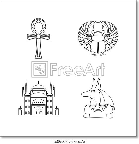 Free art print of Anubis, Ankh, Cairo citadel, Egyptian beetle  Ancient  Egypt set collection icons in outline style raster, bitmap symbol stock