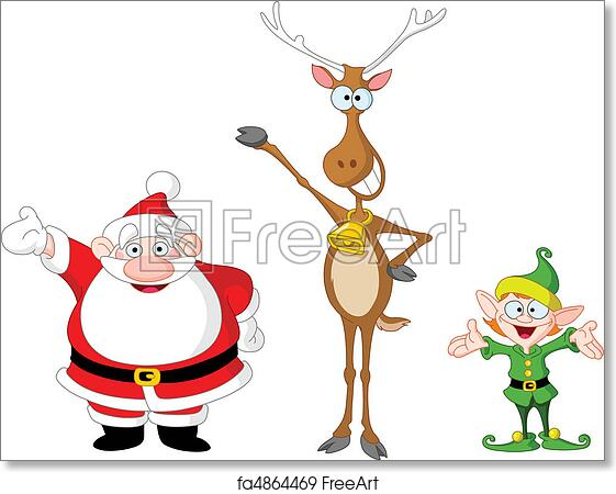 image relating to Santa Claus Printable Pictures named Free of charge artwork print of Santa rudolph elf