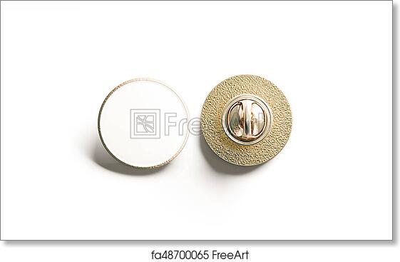 Blank White Round Gold Lapel Badge Mock Up Front And Back Side View 3d Rendering Empty Hard Enamel Pin Mockup Metal Clasp Design Template