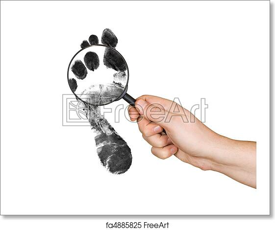 free art print of magnifying glass in hand and foot printout