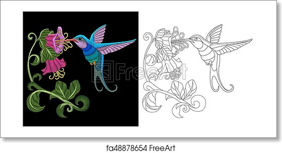 Free Art Print Of Embroidery Hummingbird Design Embroidery
