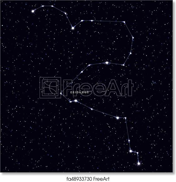 Free art print of Sky Map with the name of the stars and constellations