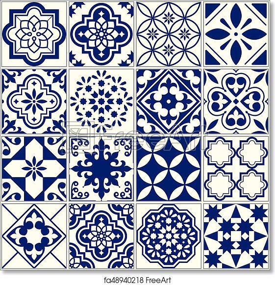 Free art print of Seamless Tiles Pattern, Mediterranean Floral Mosaic Set,  Lisbon Seamless Navy Blue Ornament
