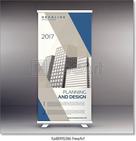 Free art print of Clean modern gray and blue standee roll up banner ...