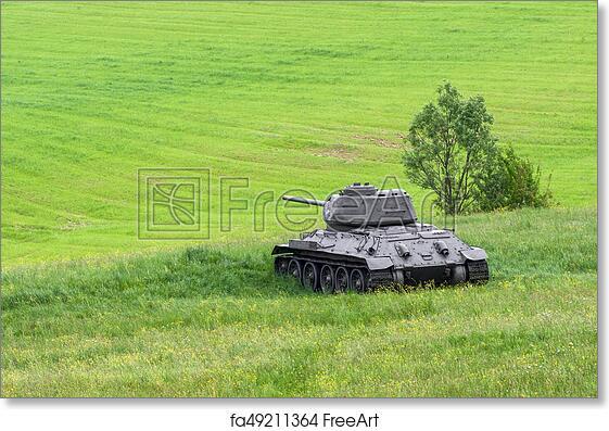 Free art print of Russian tank T-34 from World War II, Slovakia