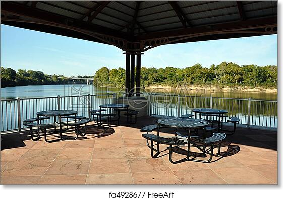 Free Art Print Of Picnic Tables On Pavilion Overlooking River - Picnic table print