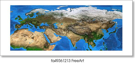 Map Of Asia Landforms.Free Art Print Of Eurasia High Resolution Map Of Europe And Asia