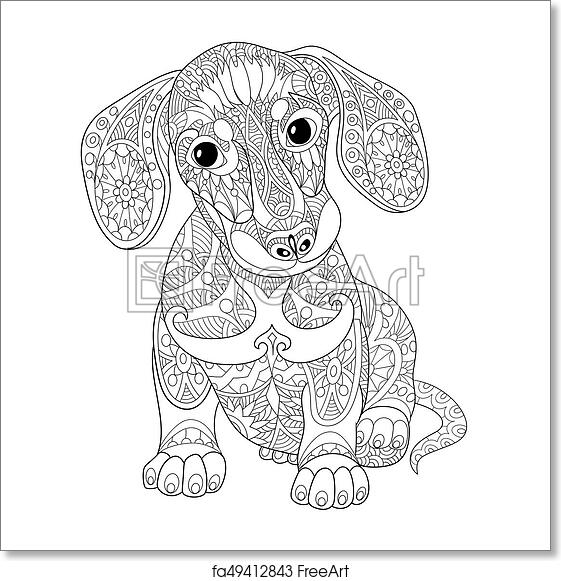 Dachshund Dog Zentangle Coloring Page by Pamela Kennedy | TpT | 581x561