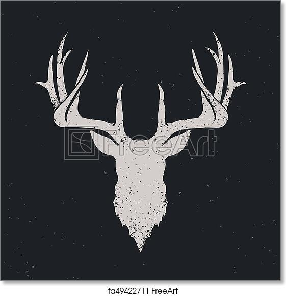 Free Art Print Of Deer Head Silhouette Invert Deer Head Invert Silhouette Hand Drawn Vintage Illustration Freeart Fa49422711