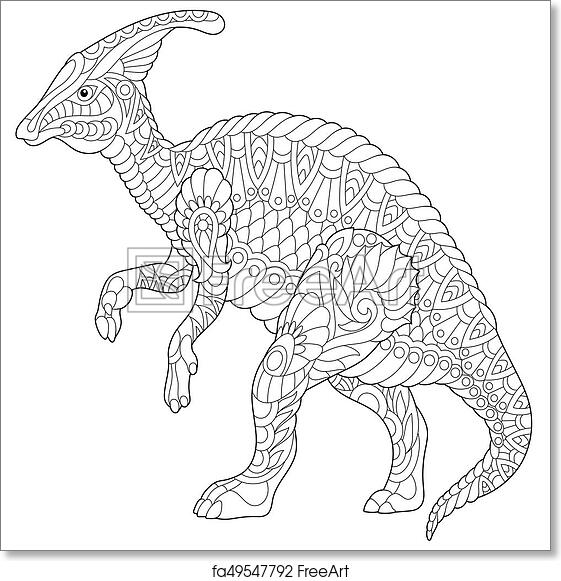 Free Art Print Of Zentangle Hadrosaur Dinosaur. Coloring Page Of Hadrosaur  Dinosaur Of Cretaceous Period. Freehand Sketch Drawing For Adult Antistress  Coloring Book In Zentangle Style. FreeArt Fa49547792