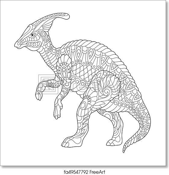 Free art print of Zentangle hadrosaur dinosaur. Coloring