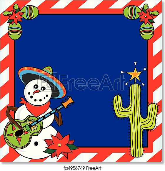 free art print of mexican christmas card snowman mariachi with