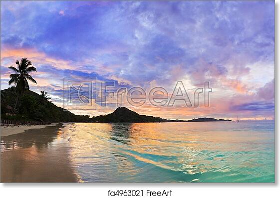 Free Art Print Of Tropical Beach Cote DOr At Sunset Seychelles