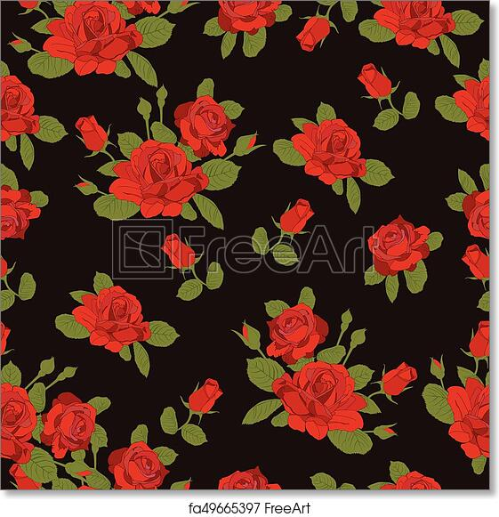 Free Art Print Of Red Rose Flower Pattern On Black Background Red