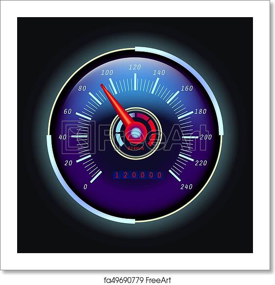 Free art print of Digital odometer and analog speedometer with arrow