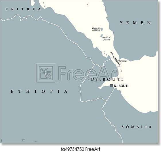 Free art print of Bab el Mandeb Strait region political map Bab el