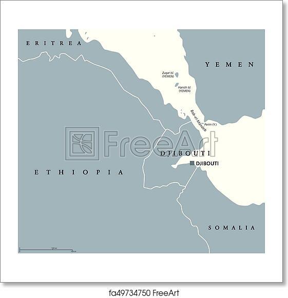 free art print of bab el mandeb strait region political map