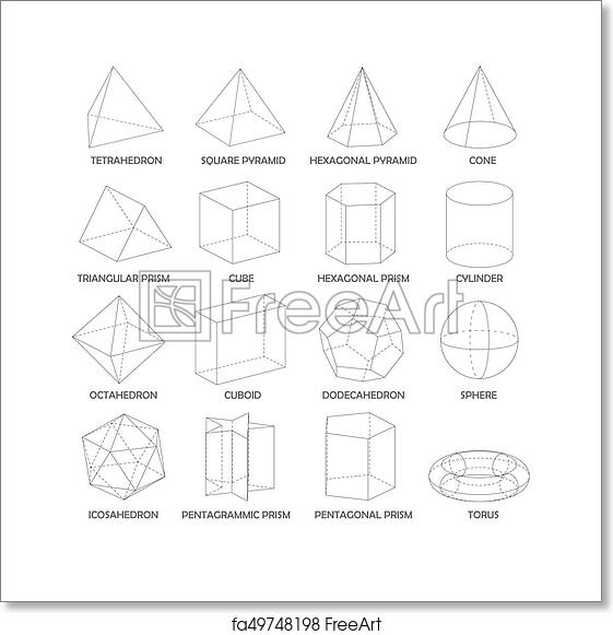 Free art print of All basic 3d shapes template. Realistic
