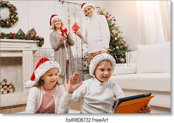 Free art print of Happy family celebrating christmas