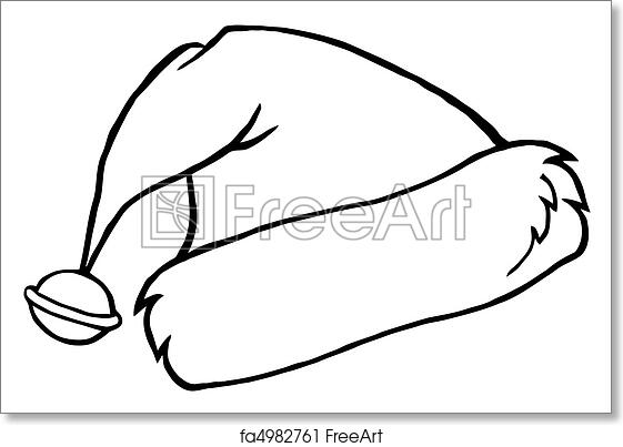 Free Art Print Of Outlined Santa S Hat Coloring Page Outline Of A