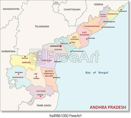Map Of India Political.Free Art Print Of Andhra Pradesh Administrative And Political Map