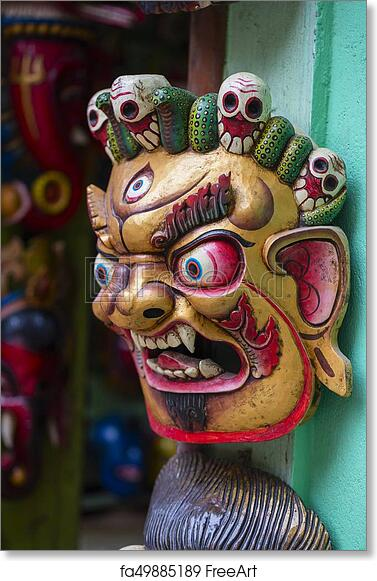Free Art Print Of Colorful Wooden Masks And Handicrafts On Sale At