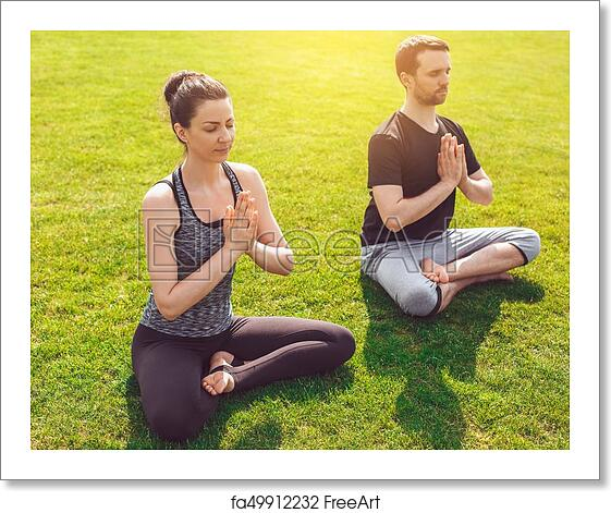 Free Art Print Of People Practice Acro Yoga Outdoors Healthy Lifestyle Man And Woman Practice Acro Yoga In The Park Meditation Freeart Fa49912232