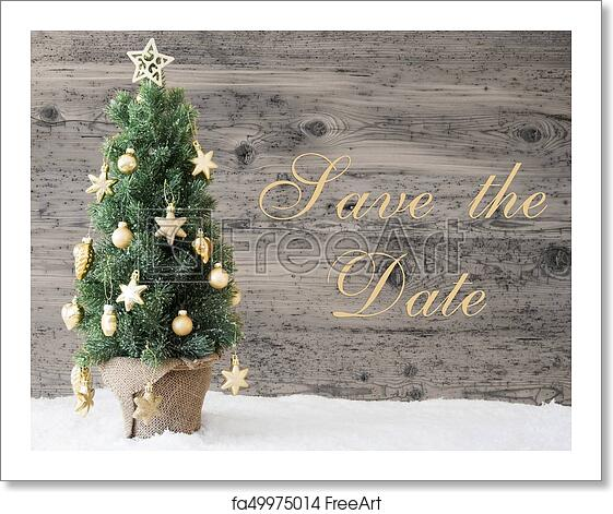 Christmas Save The Date Free.Free Art Print Of Golden Decorated Christmas Tree Text Save The Date