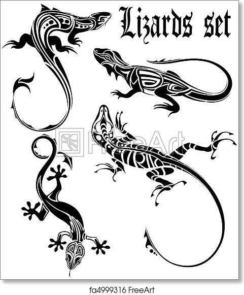 Free Art Print Of Lizard Tattoo Set