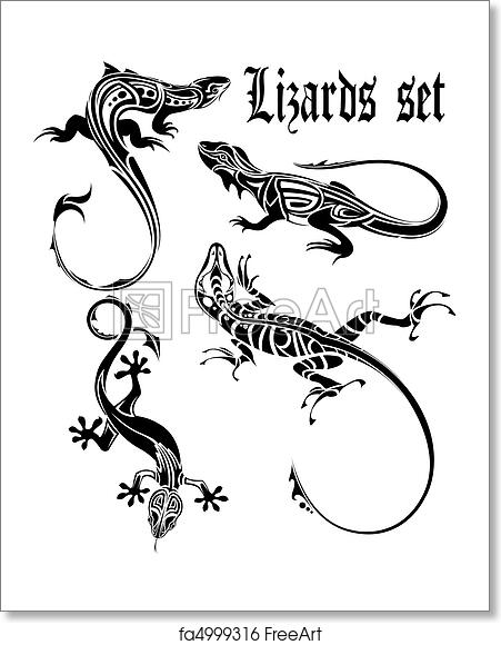 33d6dfeba The vector image of a dial-up of lizards drawn from composite circuits on a white  background